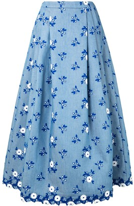 Andrew Gn Floral-Embroidered Midi Skirt
