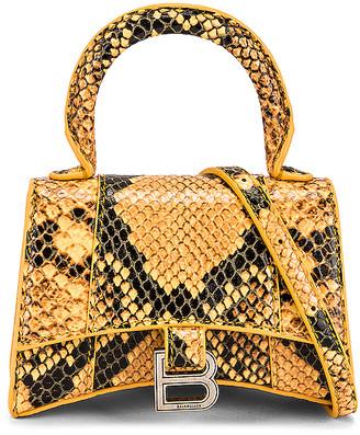 Balenciaga Mini Hourglass Bag in Orange & Black | FWRD