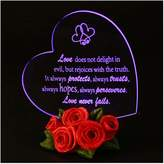 """Giftgarden LED Light Up """"Love never fails"""" Heart-shaped Keepsake Ornament Home Apartment Room Decor Cake Topper Unique Personalized Gifts for Women Men"""