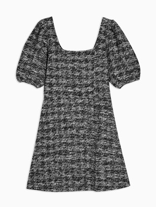Topshop Volume Sleeve Boucle Mini Dress - Monochrome