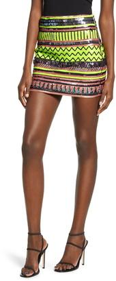 Endless Rose Sequin Pattern Miniskirt