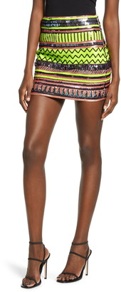 Endless Rose Sequin Pattern Miniskirt