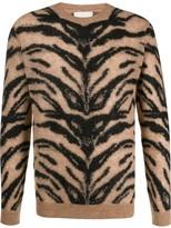 Laneus animal pattern knit sweater