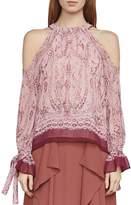 BCBGMAXAZRIA Sessilee Baroque Paisley Cold-Shoulder Top