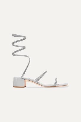 Rene Caovilla Cleo Crystal-embellished Satin And Suede Sandals
