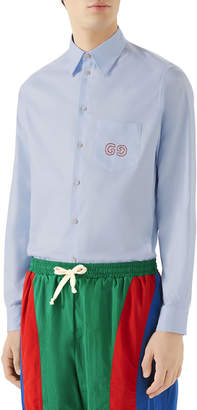 Gucci Men's Logo-Embroidered Oxford Shirt