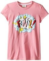 Fendi Short Sleeve T-Shirt w/ Logo Design on Front Girl's T Shirt