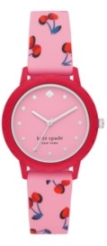 Kate Spade Morningside Pink Cherry-Print Silicone Watch, 30MM