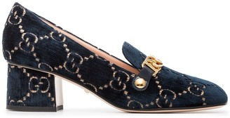 Gucci Ink Blue Sylvie 55 Velvet and Leather Pumps