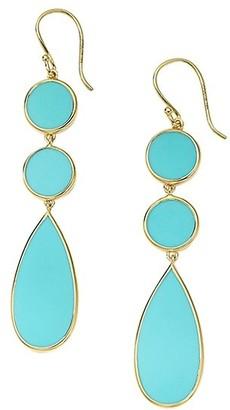 Ippolita Polished Rock Candy 18K Yellow Gold & Turquoise Triple Drop Earrings