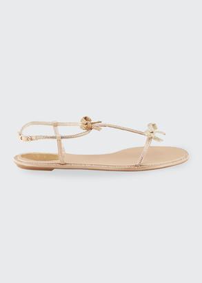 Rene Caovilla Flat T-Strap Bow Sandals