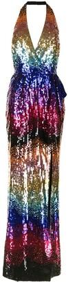 ZUHAIR MURAD Gradient-Sequin Halterneck Gown