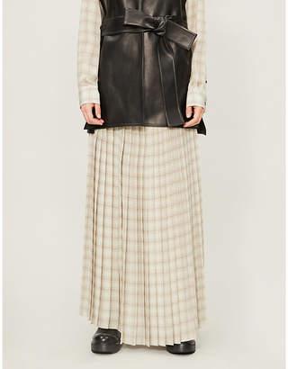 The Row Tulu checked silk-crepe midi skirt