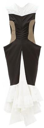 Marine Serre Panelled Ruffle-hem Wool Midi Dress - Black White