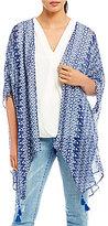 Gibson & Latimer Geo-Printed Kimono with Tassels