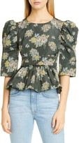 Brock Collection Floral Print Puff Sleeve Peplum Top