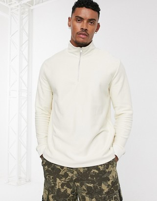 Topman jersey twill sweat with half zip in stone