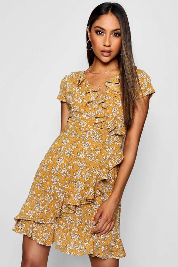 boohoo Ruffle Front Ditsy Floral Tea Dress