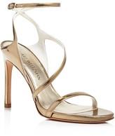 Stuart Weitzman Sultry Metallic Leather High Heel Sandals