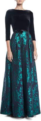 Theia Velvet & Emerald Brocade Ball Gown