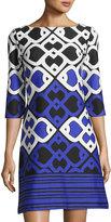 Taylor Printed Ponte Shift Dress, Blue Pattern