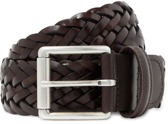 Andersons 4cm Dark-Brown Woven Leather Belt