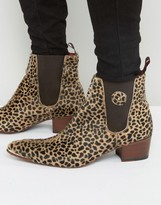 Jeffery West Sylvian Pony Leopard Chelsea Boots