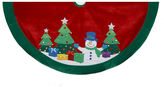 Kurt Adler 48 Snowman and Trees Applique and Embroidered Tree Skirt