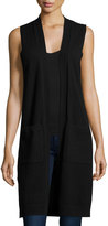 Neiman Marcus Cashmere Long Open-Front Vest, Black