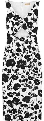Michael Kors Cutout Floral-print Cotton And Silk-blend Matelasse Dress