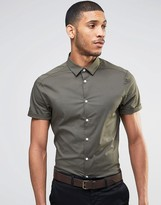Asos Skinny Shirt With Short Sleeves In Khaki