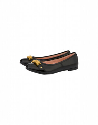 Moschino Patent Leather Ballerinas With Lettering Logo Unisex Black Size 27 It - (9.5k/10k Us)