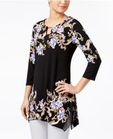 JM Collection Floral-Print Handkerchief-Hem Top, Only at Macy's