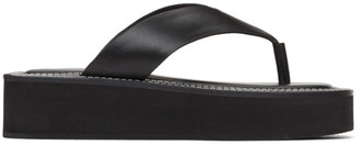 System Black Leather Flat Sandals