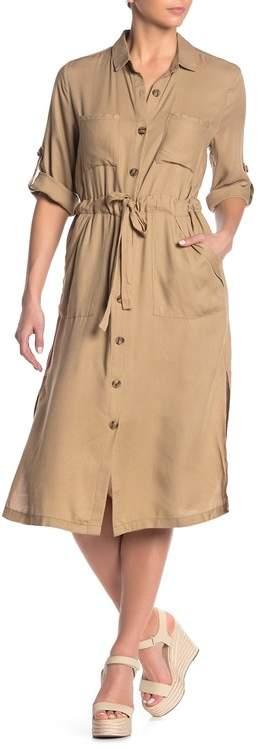 Lush Pocketed Midi Shirt Dress
