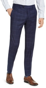 Tommy Hilfiger Men's Classic-Fit Th Flex Stretch Navy Blue Windowpane Suit Pants