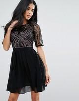 Little Mistress Embellished Top Skater Dress