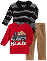 Nannette Baby Boys' 3-Pc. Shawl Sweater, T-Shirt & Pants Set