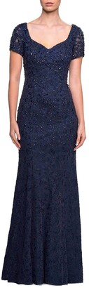 La Femme Short-Sleeve Sequined Lace Gown