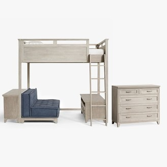 Pottery Barn Teen Hampton Loft Bed with Cushy Loveseat, Media, Bookcase & 5-Drawer Dresser Set