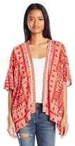 Angie Women's Red Printed Kimono