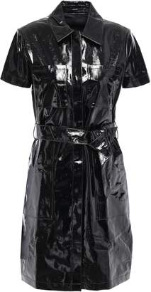 J Brand Belted Patent-leather Mini Shirt Dress