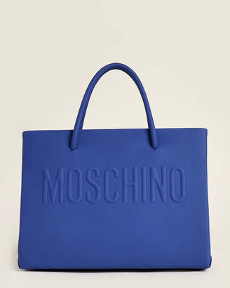 Moschino Blue Smooth Leather Logo Satchel