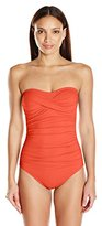 Anne Cole Women's Front-Shirred Bandeau One-Piece Swimsuit