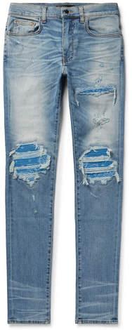 Amiri Mx1 Skinny-Fit Panelled Distressed Stretch-Denim Jeans