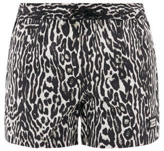 Burberry Leopard-print Technical Swim Shorts - Mens - Black Multi