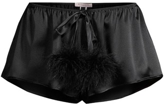 Gilda And Pearl Pillow Talk Ostrich Feather Pom-Pom Silk Shorts