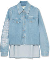 Off-White Embroidered Denim Jacket - Light blue