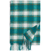 Johnstons of Elgin Green Bold Check Lambswool Scarf