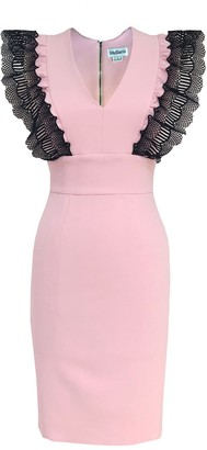 Mellaris Sofia Dress Pale Pink Crepe With Lace Contrast